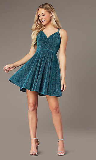 Short Glitter-Knit Homecoming Dress by PromGirl