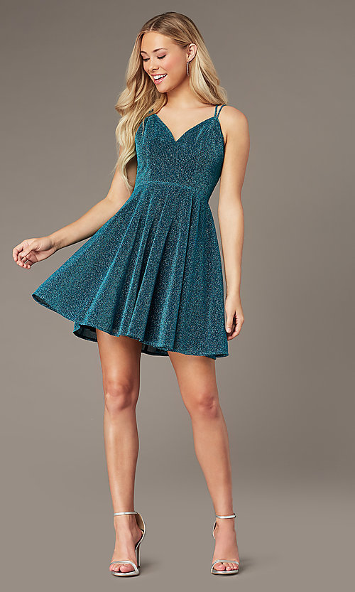 Image of short glitter-knit homecoming dress by PromGirl. Style: LP-PL-26493 Detail Image 3