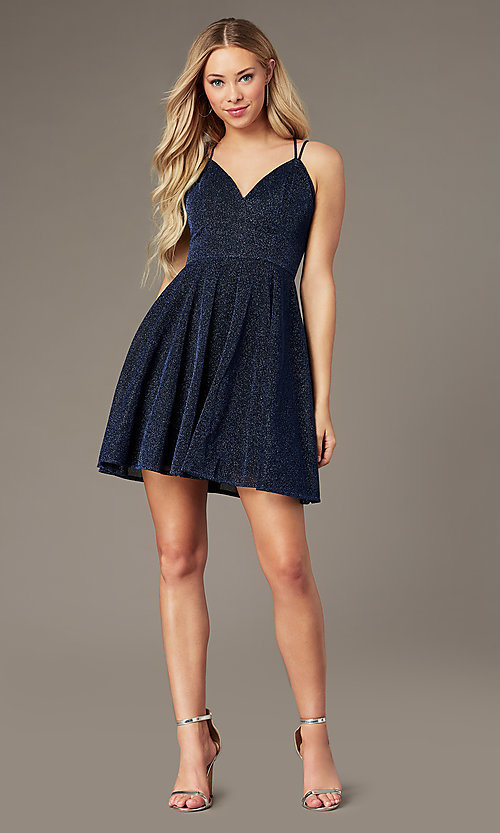 Image of short glitter-knit homecoming dress by PromGirl. Style: LP-PL-26493 Front Image