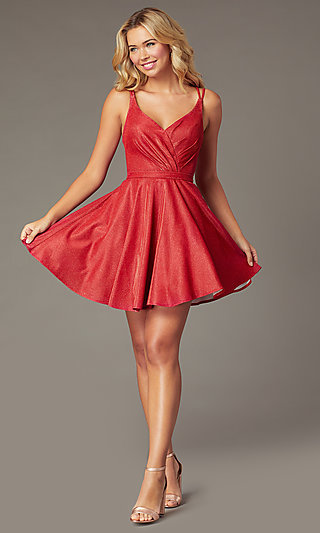 Metallic-Knit A-Line Short Homecoming Dress