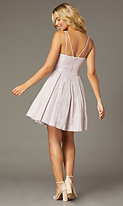 Image of short sweetheart glitter-knit homecoming dress. Style: DQ-3143 Back Image