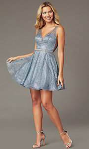 Image of glitter-adorned short a-line hoco v-neck dress. Style: DQ-3126 Front Image