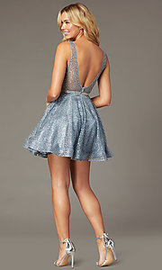 Image of glitter-adorned short a-line hoco v-neck dress. Style: DQ-3126 Back Image