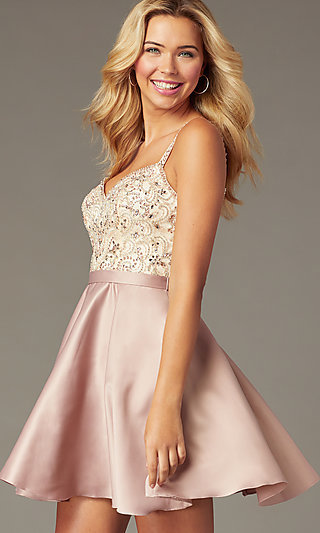 Short Embellished-Bodice Homecoming Dress in Mocha