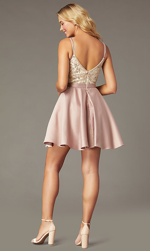 Image of short embellished-bodice homecoming dress in mocha. Style: DQ-3125 Back Image