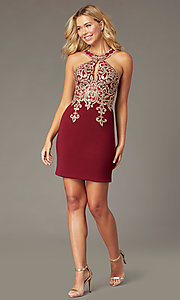 Image of PromGirl short embroidered-bodice homecoming dress. Style: DQ-PL-3215 Front Image