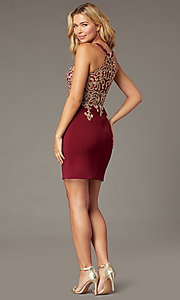 Image of PromGirl short embroidered-bodice homecoming dress. Style: DQ-PL-3215 Back Image