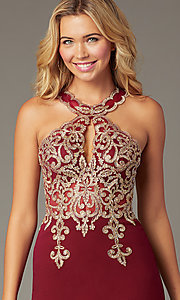 Image of PromGirl short embroidered-bodice homecoming dress. Style: DQ-PL-3215 Detail Image 1