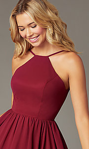 Image of burgundy PromGirl short chiffon homecoming dress. Style: DQ-PL-3190 Detail Image 1