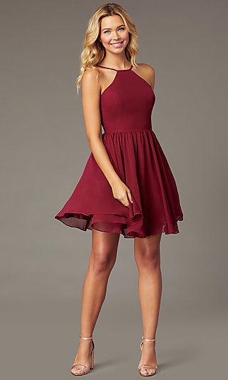Burgundy PromGirl Short Chiffon Homecoming Dress