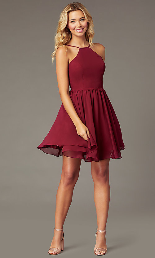 Image of burgundy PromGirl short chiffon homecoming dress. Style: DQ-PL-3190 Front Image