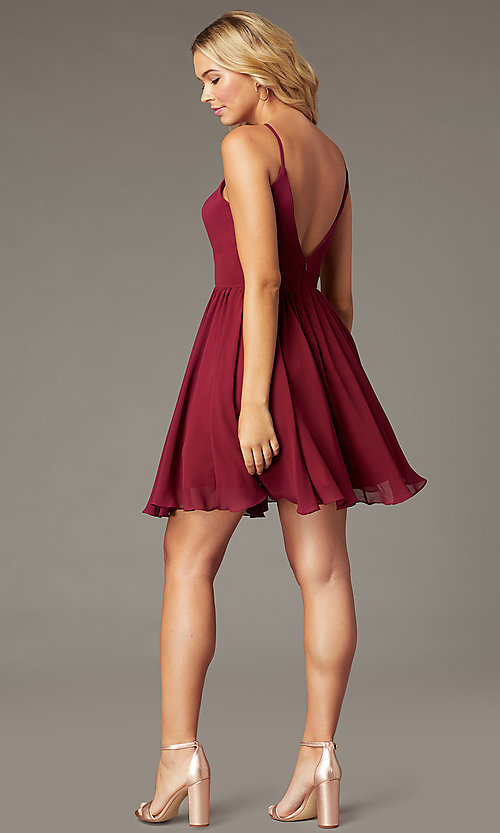 Image of burgundy PromGirl short chiffon homecoming dress. Style: DQ-PL-3190 Back Image