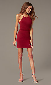 Image of burgundy red homecoming dress by PromGirl. Style: NC-PL-280 Detail Image 1