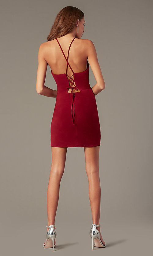 Image of burgundy red homecoming dress by PromGirl. Style: NC-PL-280 Detail Image 2