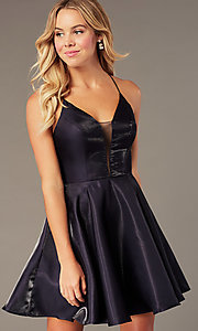 Image of short a-line homecoming dress with corset back. Style: PO-8306 Detail Image 3