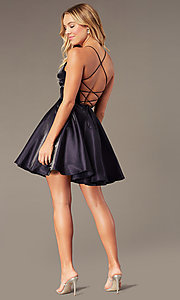 Image of short a-line homecoming dress with corset back. Style: PO-8306 Detail Image 4