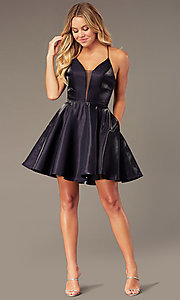 Image of short a-line homecoming dress with corset back. Style: PO-8306 Detail Image 5