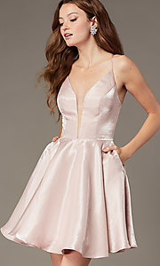 Image of short a-line homecoming dress with corset back. Style: PO-8306 Front Image