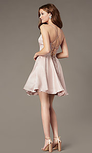 Image of short a-line homecoming dress with corset back. Style: PO-8306 Back Image