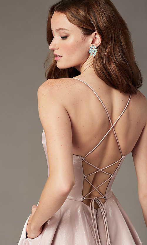 Image of short a-line homecoming dress with corset back. Style: PO-8306 Detail Image 1
