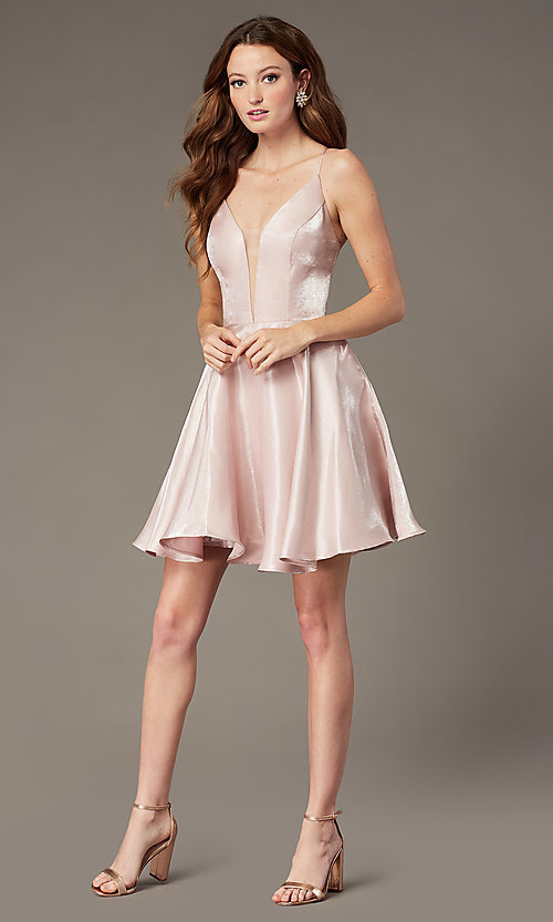 Image of short a-line homecoming dress with corset back. Style: PO-8306 Detail Image 2