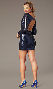 Image of long-sleeve short sequin party dress by PromGirl. Style: MCR-PL-2879 Detail Image 3