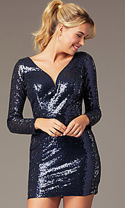 Image of long-sleeve short sequin party dress by PromGirl. Style: MCR-PL-2879 Detail Image 4