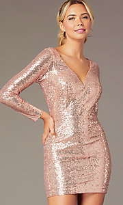 Image of long-sleeve short sequin party dress by PromGirl. Style: MCR-PL-2879 Detail Image 1
