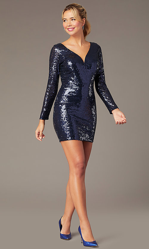 Image of long-sleeve short sequin party dress by PromGirl. Style: MCR-PL-2879 Detail Image 2
