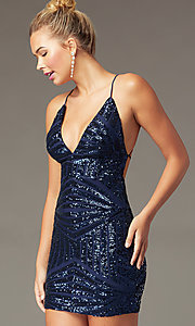 Image of v-neck short sequin homecoming dress by PromGirl.  Style: MCR-PL-2857 Front Image