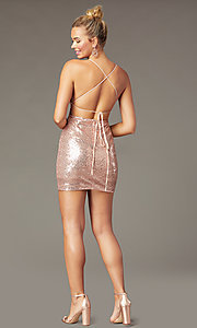Image of corset short sequin homecoming dress by PromGirl. Style: MCR-PL-2927 Detail Image 3