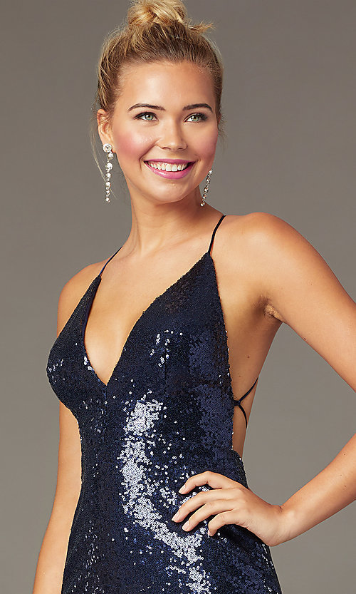 Image of corset short sequin homecoming dress by PromGirl. Style: MCR-PL-2927 Detail Image 1
