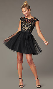 Image of cap-sleeve tulle PromGirl hoco dress in black/nude. Style: MCR-PL-2938 Front Image