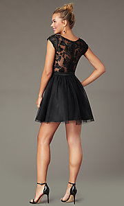 Image of cap-sleeve tulle PromGirl hoco dress in black/nude. Style: MCR-PL-2938 Back Image