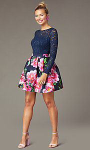 Image of lace-bodice print-skirt PromGirl homecoming dress.  Style: MCR-PL-2936 Front Image
