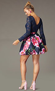 Image of lace-bodice print-skirt PromGirl homecoming dress.  Style: MCR-PL-2936 Back Image