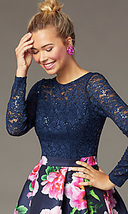 Image of lace-bodice print-skirt PromGirl homecoming dress.  Style: MCR-PL-2936 Detail Image 1