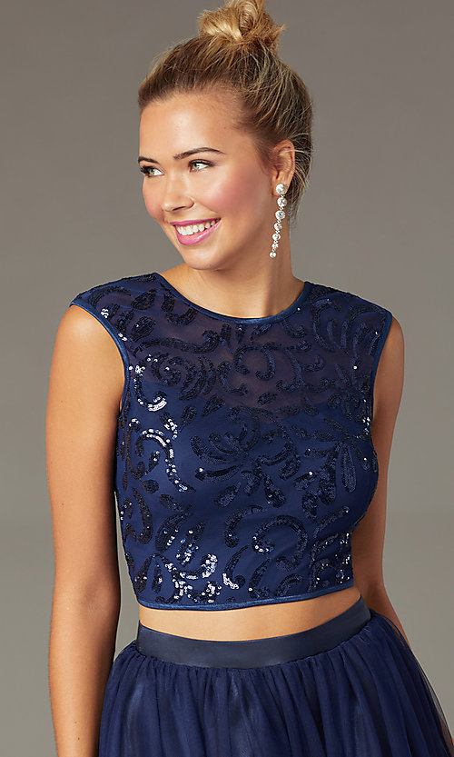 Image of navy two-piece short homecoming dress by PromGirl. Style: MCR-PL-2878 Detail Image 1