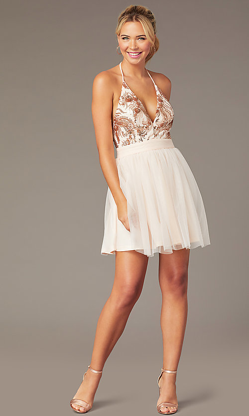 Image of short sequin-halter homecoming dress by PromGirl. Style: MCR-PL-2942 Front Image