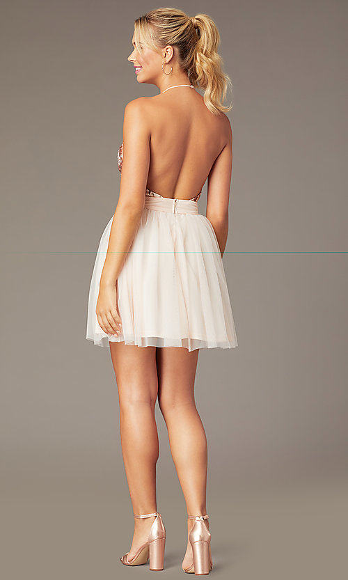 Image of short sequin-halter homecoming dress by PromGirl. Style: MCR-PL-2942 Back Image