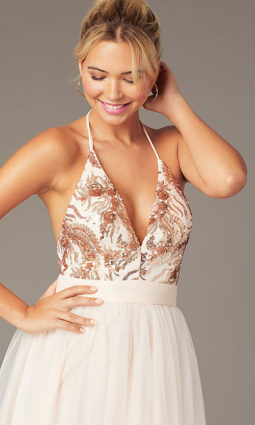 Image of short sequin-halter homecoming dress by PromGirl. Style: MCR-PL-2942 Detail Image 1