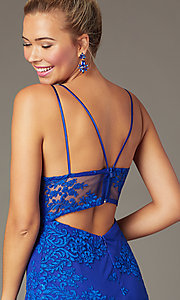 Image of short PromGirl embroidered party dress in royal blue. Style: MCR-PL-2962 Detail Image 1