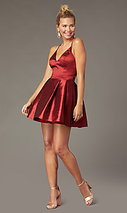 Image of short fit-and-flare homecoming dress by PromGirl. Style: MCR-PL-3102 Detail Image 2