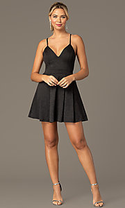 Image of little black homecoming party dress by PromGirl. Style: MCR-PL-2909 Front Image