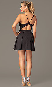 Image of little black homecoming party dress by PromGirl. Style: MCR-PL-2909 Back Image