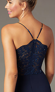 Image of short lace-back navy homecoming dress by PromGirl. Style: MCR-PL-2913 Detail Image 1