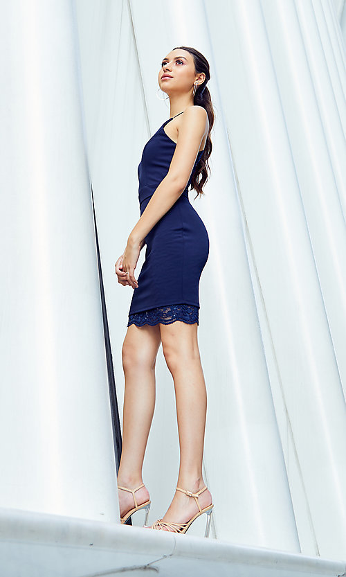 Image of short lace-back navy homecoming dress by PromGirl. Style: MCR-PL-2913 Detail Image 2