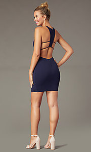 Image of t-back short navy homecoming dress by PromGirl. Style: MCR-PL-2876 Front Image