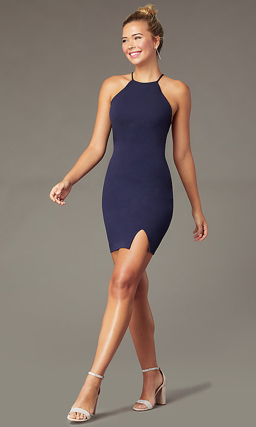 Image of t-back short navy homecoming dress by PromGirl. Style: MCR-PL-2876 Back Image