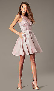 Image of short metallic-knit beaded-bodice homecoming dress. Style: SOI-W18767 Detail Image 1